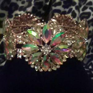 Jewelry - Aurora Borealis Chunky Gold Cocktail Bracelet
